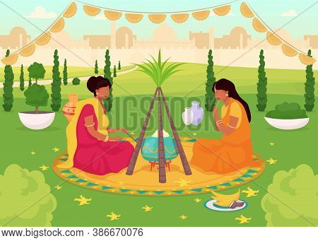 Lohri Celebration Flat Color Vector Illustration. Traditional Holy Feast In Public Park. Women In Sa