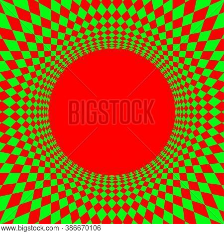 Geometric Art Abstract Red Green For Background, Art Line Green Red Spiral Optical For Hypnotic Wall