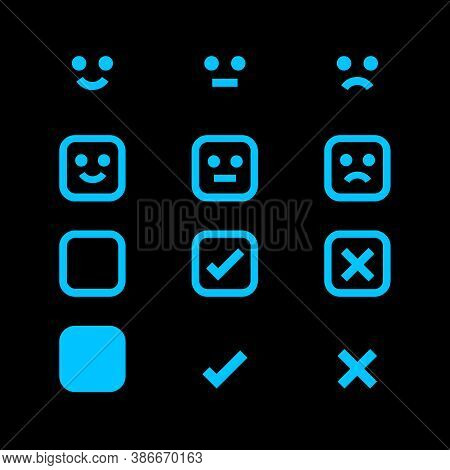 Light Blue Glowing Icon And Emotions Face, Emotional Symbol And Approval Check Sign, Emotions Faces