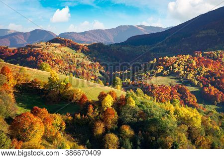 Beautiful Mountain Landscape On A Sunny Day. Wonderful Countryside Scenery In Autumn Season. Rural F