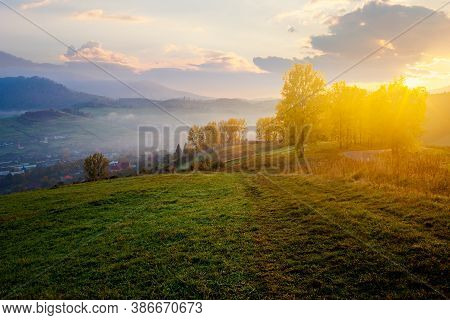 Stunning Rural Landscape. Foggy Scenery At Sunrise In Autumn Season. Trees On Mountain Hills In Colo