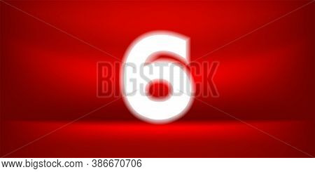 Number Six White Glow On Red Luxurious Background, No. 6 On Red Background, Number 6 For Banner Anni