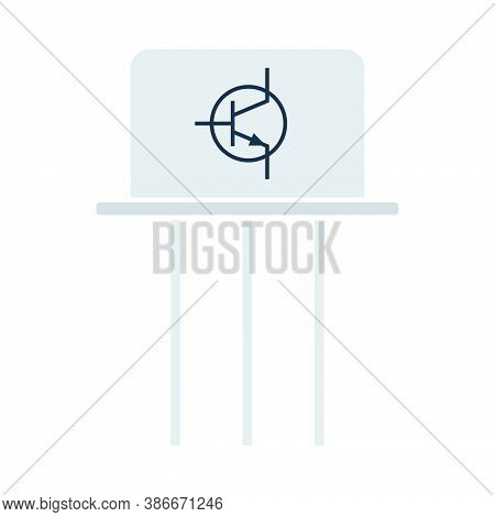 Transistor Icon. Flat Color Design. Vector Illustration.