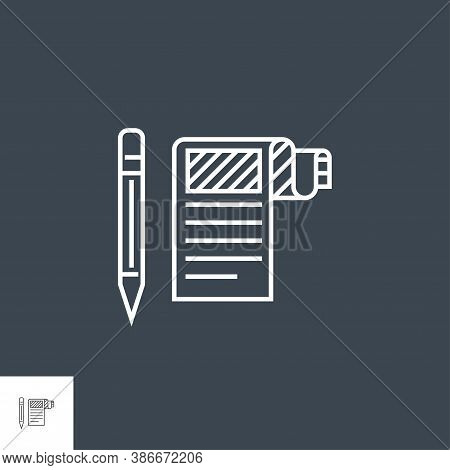 Article Submission Related Vector Thin Line Icon. Isolated On Black Background. Editable Stroke. Vec