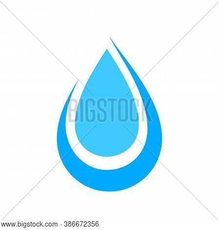 Water Drop Isolated On White, Droplet Aqua, Water Fluid Drop For Logo Design, Graphic Liquid Shape F