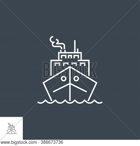 Cruise Ship Icon. Cruise Ship Related Vector Line Icon. Isolated On Black Background. Editable Strok
