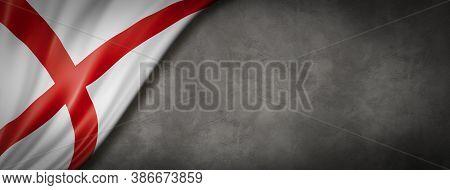 Alabama Flag On Concrete Wall Banner, Usa. 3d Illustration