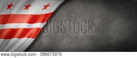 Washington, District Of Columbia Flag On Concrete Wall Banner, Usa. 3d Illustration