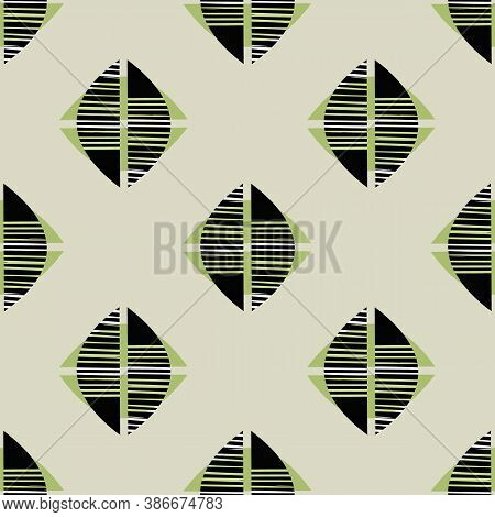 Midcentury Mono Print Style Foliage Seamless Vector Pattern Background. Abstract Lino Cut Effect Hal
