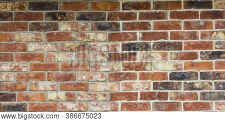 Red Brick Wall Texture Grunge Background With Vignetted Corners, May Use To Interior Design