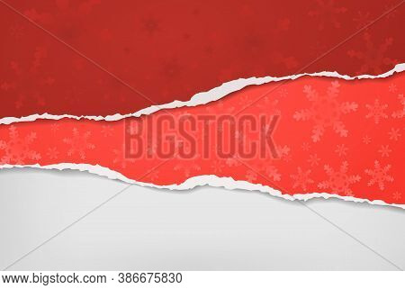 Piece Of Torn, Ripped Red Paper With Snowflakes Pattern And Soft Shadow Are On White Background For