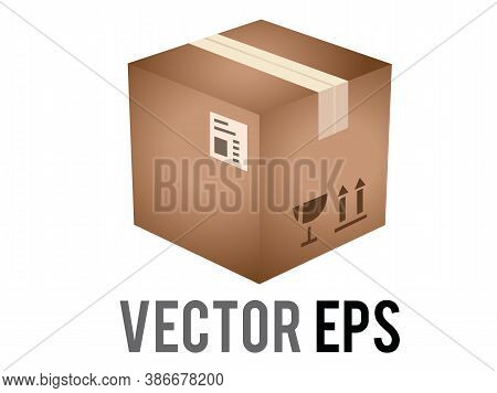The Isolated Vector Light Brown Cardboard Package Box Icon With Shipping Label And Taped Shut