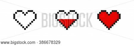 Live Heart Set Pixel Vector Icon. 8 Bit Love. Retro Game Nubes. Cartoon Illustration Art