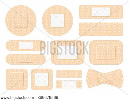 Medical Plaster. First Aid Band Plaster Strip Medical Patch. Wound Cross Plastering Band And Porous