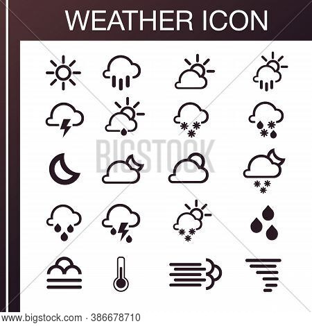 Pack Of Weather Icons. All Icons For Weather With Sample Of Use. Icons Set. 100% Vector, Eps 10. Wea