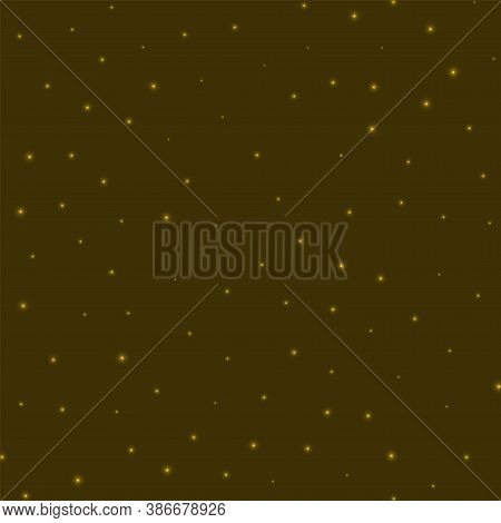 Starry Background. Stars Sparsely Scattered On Yellow Background. Amazing Glowing Space Cover. Trend