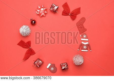 Winter Banner. Stocking, Gifts, Winter Tree, Ribbon And Bow In Shape Frame On Red Background For Gre
