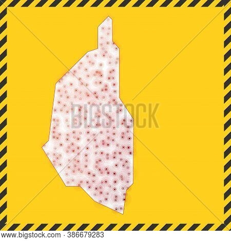 Kapas Island Closed - Virus Danger Sign. Lock Down Island Icon. Black Striped Border Around Map With