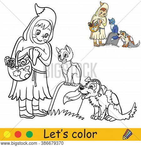 Halloween Coloring With Colored Example Little Ghost