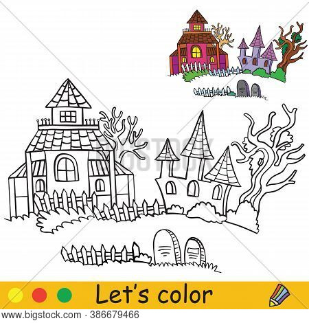 Halloween Coloring With Colored Example Haunted Houses