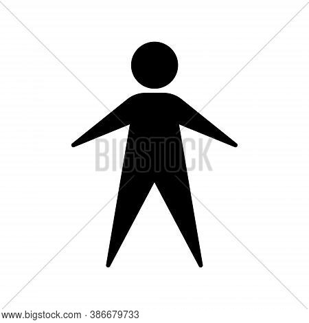 Human Figure Icon. Male Person Avatar Symbol. Man Or Gentleman Toilet And Restroom Sign. People Logo