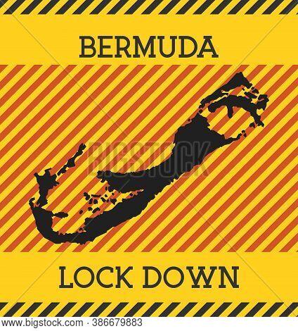 Bermuda Lock Down Sign. Yellow Island Pandemic Danger Icon. Vector Illustration.