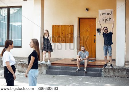I Need A Job. Dude With Sign - Man Stands Protesting Things That Annoy Him. Solo Demonstration His R