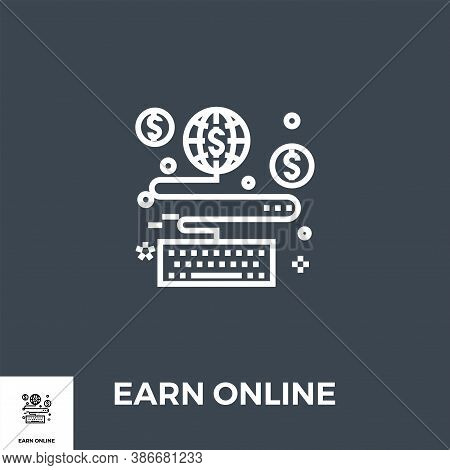 Earn Online Related Vector Thin Line Icon. Isolated On Black Background. Vector Illustration.