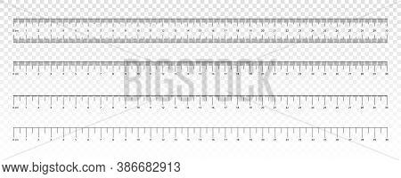 Rulers Inch And Metric Rulers. Measuring Tool On Transparent Background. Centimeters And Inches Meas