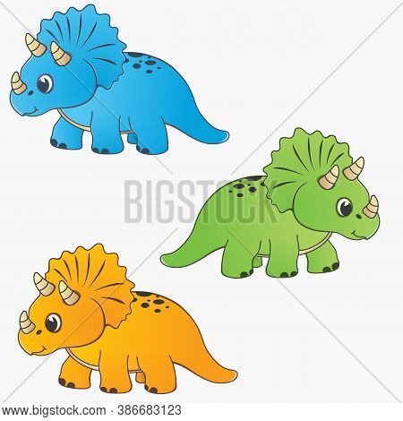 Dino Illustration Set. Orange, Blue And Green Dinosaur. Dinosaurs For Cartoon Characters And Game De