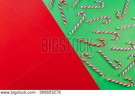 Holiday Minimalist Decorations. Christmas Composition. Present Box, Xmas Candy Canes, Red Festive De