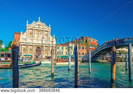Venice, Italy, September 13, 2019: Cityscape With Yachts And Gondolas Sailing Grand Canal Waterway,