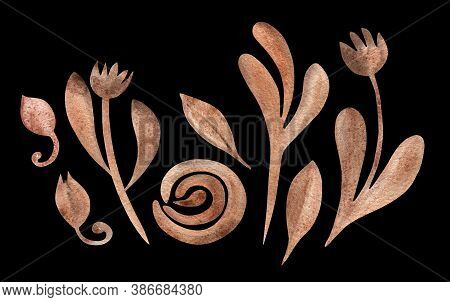 Dried Autumn Flowers And Leaves Isolated On Black Background. Boho Watercolor In Trendy Earthy Color