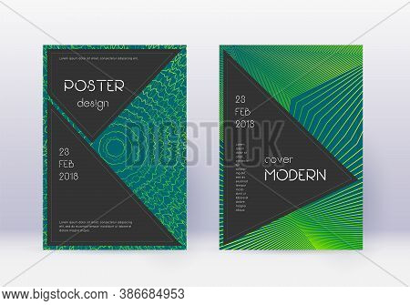 Black Cover Design Template Set. Green Abstract Lines On Dark Background. Admirable Cover Design. Be