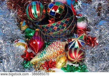 Christmas Globes, Tinsel, Bows And Ribbon, Mijas Costa, Costa Del Sol, Malaga Province, Andalucia, S