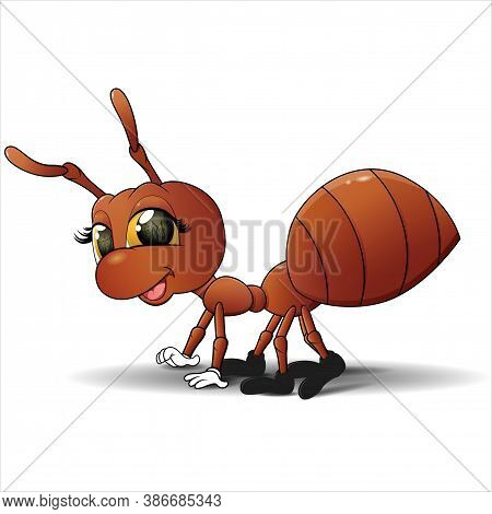 Vector Illustration Ant. Sign Or Logo In The Form Of An Ant, Painted In Color. Insect Mascot.