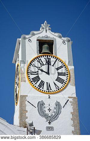 View Of The St Marys Church (igreja De Santa Maria Do Castelo) Clock Tower, Tavira, Algarve, Portuga
