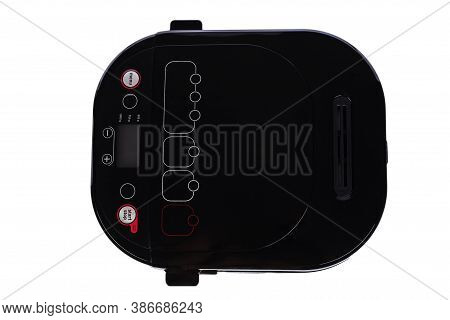 Multicooker Bread Maker Isolated On White Background. Top View, Cover And Menu. Household Kitchen Ap