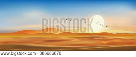 Realistic Vector Dramatic Desert Landscape In Evening With Sunset, Sky Line In Blue Pink And Yellow.