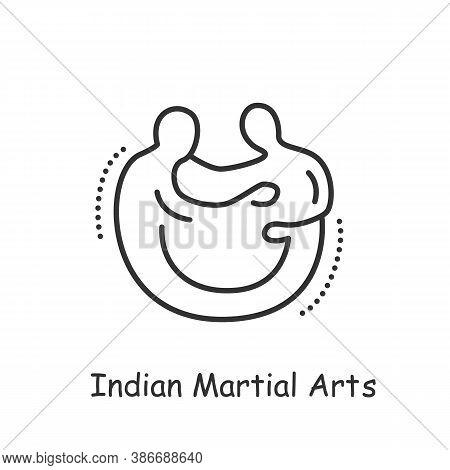 Indian Martial Arts Line Icon. Fighting Sport. Self-defense. Taekwondo, Karate, Jujutsu, Aikido And