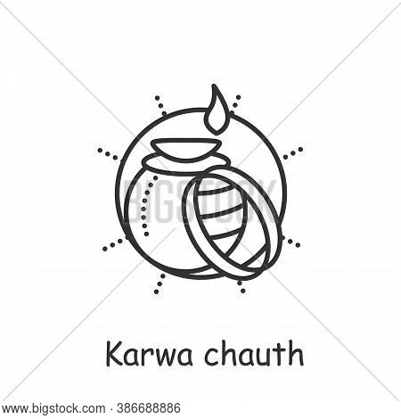 Karwa Chauth Line Icon. Traditional Hindu Holiday Of Married Women. Food And Jewelry In A Clay Pot.