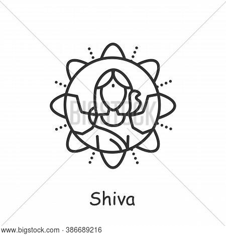 Lord Shiva Line Icon. Hindu Deity. Supreme God In Shaivism. Mahashivratri Festival. Hinduism. Vedic