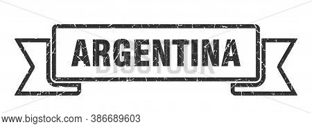 Argentina Ribbon. Black Argentina Grunge Band Sign