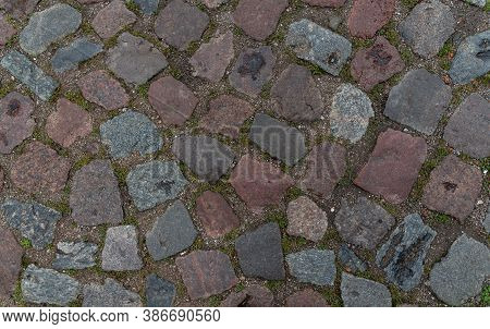 Texture Of Stone Paving Stones. Pavement, Stone, Road. Old German Road. Grey Road Material. Granite