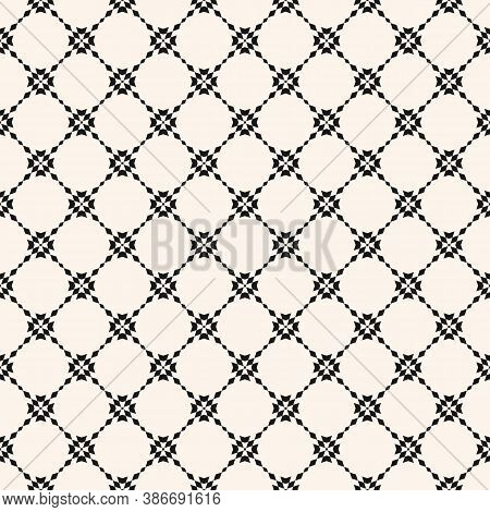 Floral Grid Seamless Pattern. Abstract Geometric Texture. Simple Vector Black And White Ornament Wit