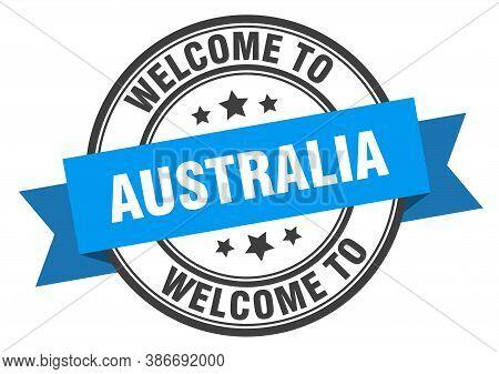 Australia Stamp. Welcome To Australia Blue Sign