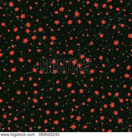 Vector Seamless Pattern With Small Pretty Red Flowers And Tiny Green Leaves On Black Backdrop. Liber