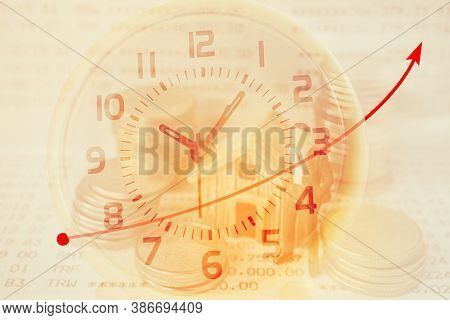 Double Exposure Of Analog Clock And Miniature Business Man , Stack Of Coins And House For Business A