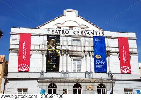 Malaga, Spain - April 05, 2009 - Front View Of Cervantes Theatre In The City Centre, Spain - April 0