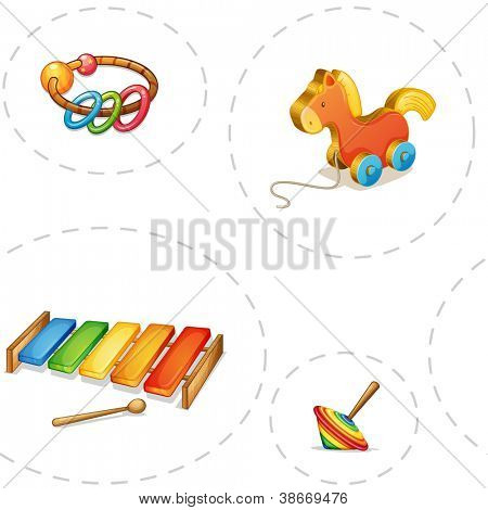 illustration of toys on a white backgound
